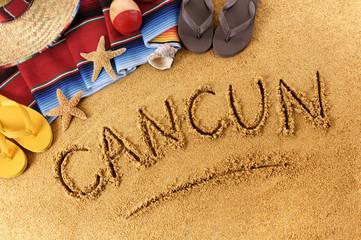 Cancun beach writing