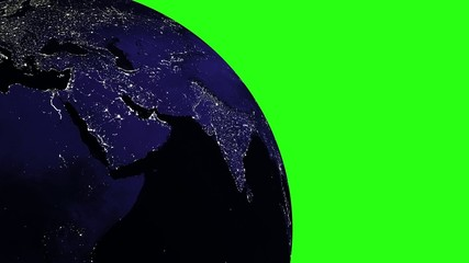 Planet Earth in universe or space on GREEN SCREEN - loop