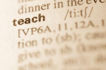 Dictionary definition of word teach