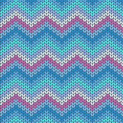 Knitted geometric pattern in violet, blue and grey