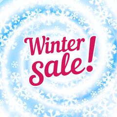 Snow blizzard swirl. Winter sale words. Winter background.