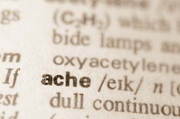 Dictionary definition of word ache
