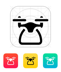 Quadcopter side view icon.