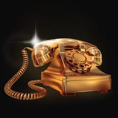 Golden phone on black background.