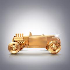 Golden vintage car on gray background