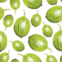 Green gooseberries pattern seamless