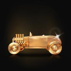 Golden vintage car on black background