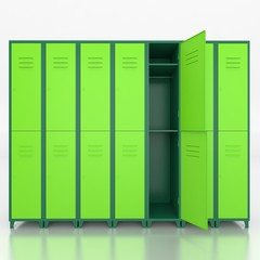 Empty green  lockers isolate on white  background