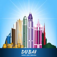 Colorful City of Dubai UAE Famous Buildings