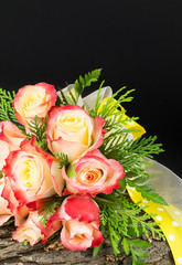Wedding bouquet of bi-colored roses