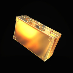 golden briefcase representing  business on black background
