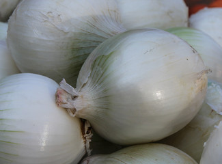 White onions in the market in Puerto Vallarta