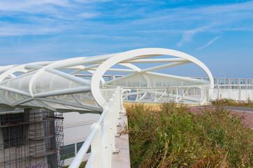 modern bicycle and footbridge