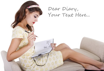young female writing on a retro style diary with text space