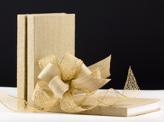 Three burlap bound books with matching  ribbon bow,