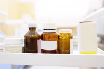 The image of medical bottles