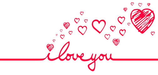 i love you hearts white red