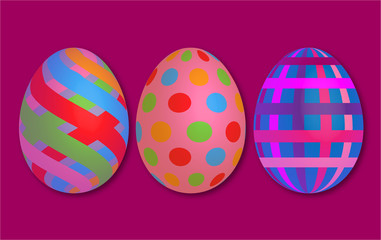 Abstract colorful vintage 3d easter egg stripes red background