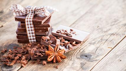 Dark chocolate brown wooden table.