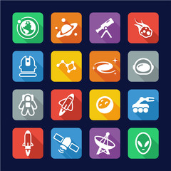 Space Icons Flat Design