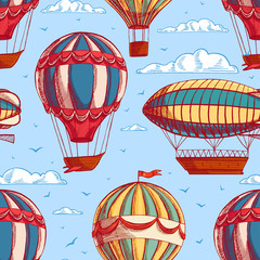 seamless background with colorful balloons and airships
