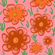 Spring flowers colorful pattern illustration