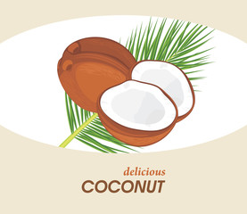 Delicious coconut. Label for design