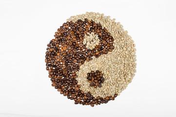 yin-yang of coffee beans
