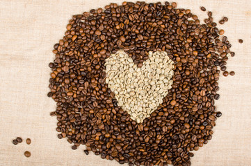 coffee beans piled heart
