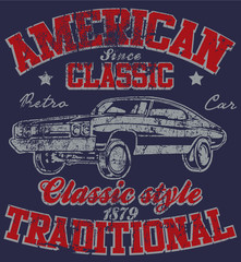 Old American Car Vintage Classic Retro man T shirt Graphic Desig