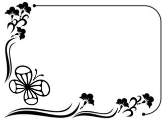 Horizontal floral frame silhouette