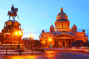 St. Petersburg. Russia.Night view.St. Isaac