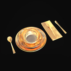 Gold set of dishes with appliances on black background