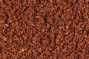 Extreme closeup of ground coffee viewed from the top