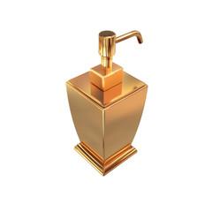 Golden soap or cream dispenser on white  background