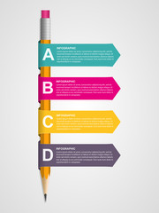 Education infographics template with pencil and ribbons.