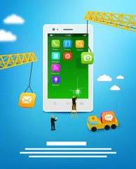 Construction mobile phone, smartphone user interface
