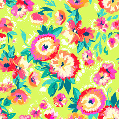 Painted bright flowers ~ seamless background