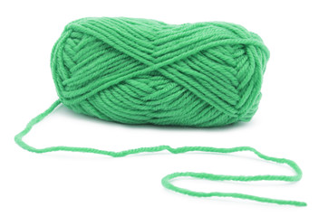Green knitting yarn isolated on white