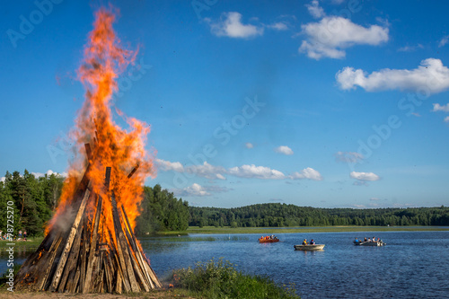 Plexiglas Meer Bonfire at midsummer