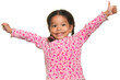 Funny multiracial small girl opening her arms wide