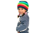 Funny mixed race small girl wearing winter clothes