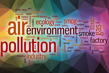 Air pollution word cloud with abstract background