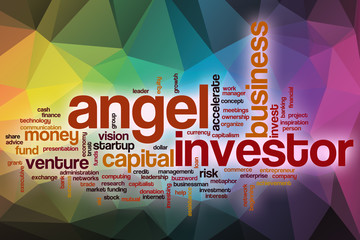 Angel investor word cloud with abstract background