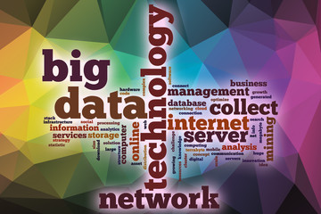 Big data word cloud with abstract background