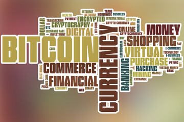 Bitcoin word cloud with abstract background