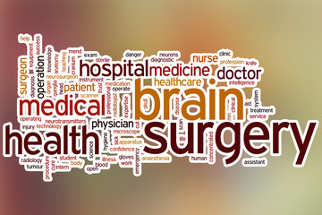 Brain surgery word cloud with abstract background