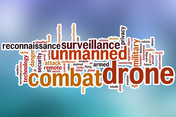 Combat drone word cloud with abstract background