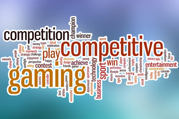Competitive gaming word cloud with abstract background