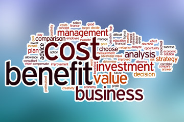 Cost benefit word cloud with abstract background